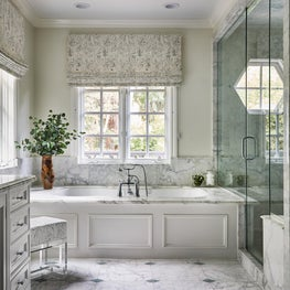 Traditional Master Bath with Pierre Frey Le Couple Window Roman Shades