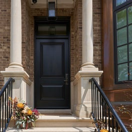 Front Door Detail Urban Classic Custom Home in Lincoln Park Chicago
