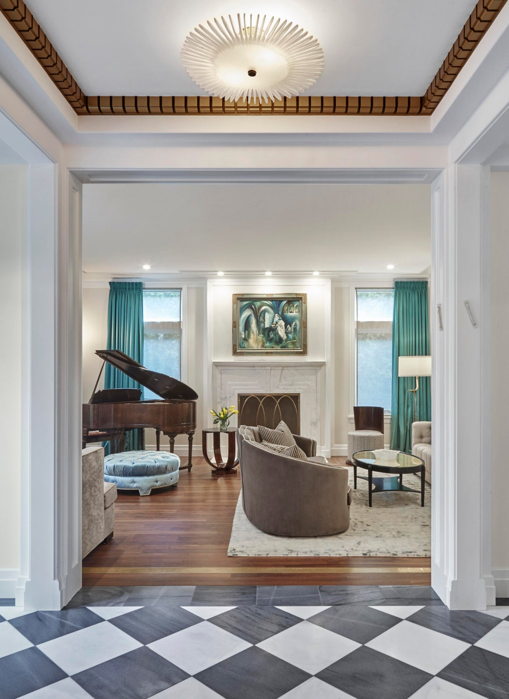 Art Deco Living Room with Marble Mantel and Walnut Floor View from Front Hall