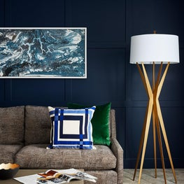 Deep Blue Modern wood paneling with emerald green and gold accents