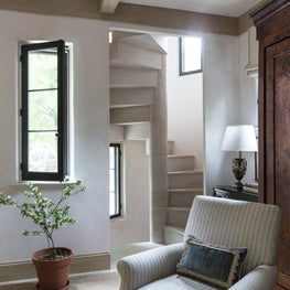 Wintery White Family Room and Stair Tower
