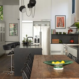 Kitchen of a converted storefront.