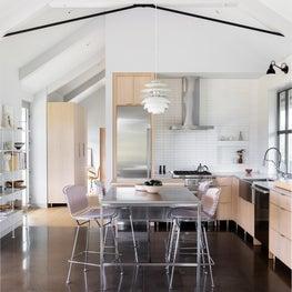 Maui Hawaii minimalist kitchen with custom stainless steel island