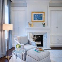 Boston bedroom, Dimitriy Chair, Custom designed Fireplace and cabinets w/Miro