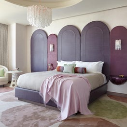 Cosmopolitan of Las Vegas - purple leather headboard, Murano chandelier