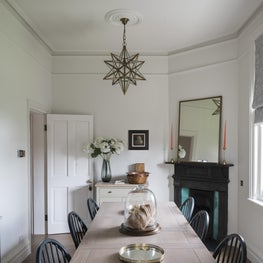 Brook Green Apartment, London - Dining area with original features