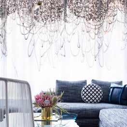Tribeca Residence, Living Room Featuring Hand-Painted Curtains by Carolyn Ray