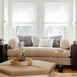 South End Victorian, Custom ottoman, upholstered bench in window nook