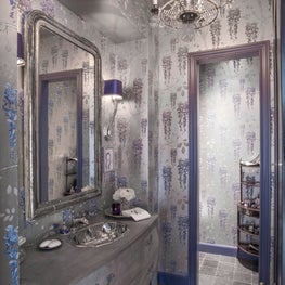 Dramatic powder room- rich blue tones, metallic wallpaper & lapis faucet