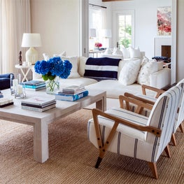 Hamptons Residence Family Room with neutral palette.