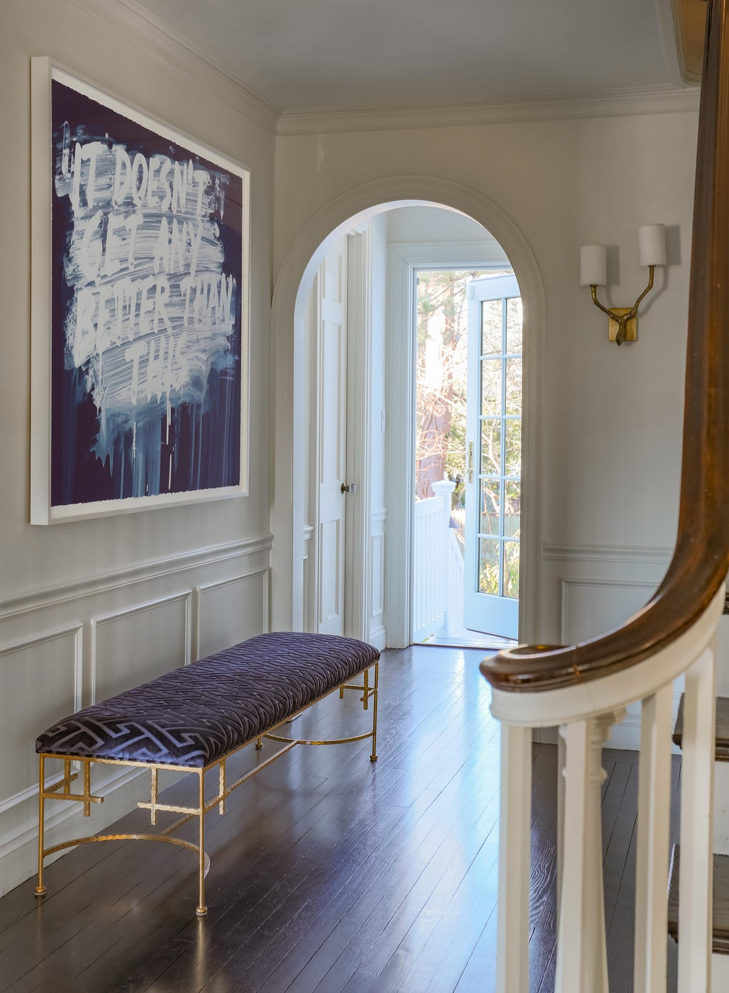 Modern Entry with Contemporary Art and Gold Leaf Bench