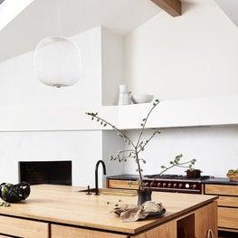 Soulful Home Kitchen with Garde Hvalsøe cabinets, Foscarini Spokes 2 pendant