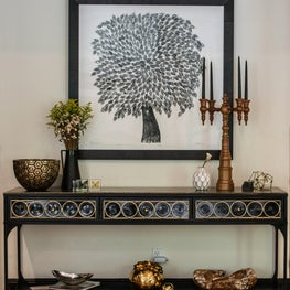 Hallway Vignette of Black and White with John Pomp Console