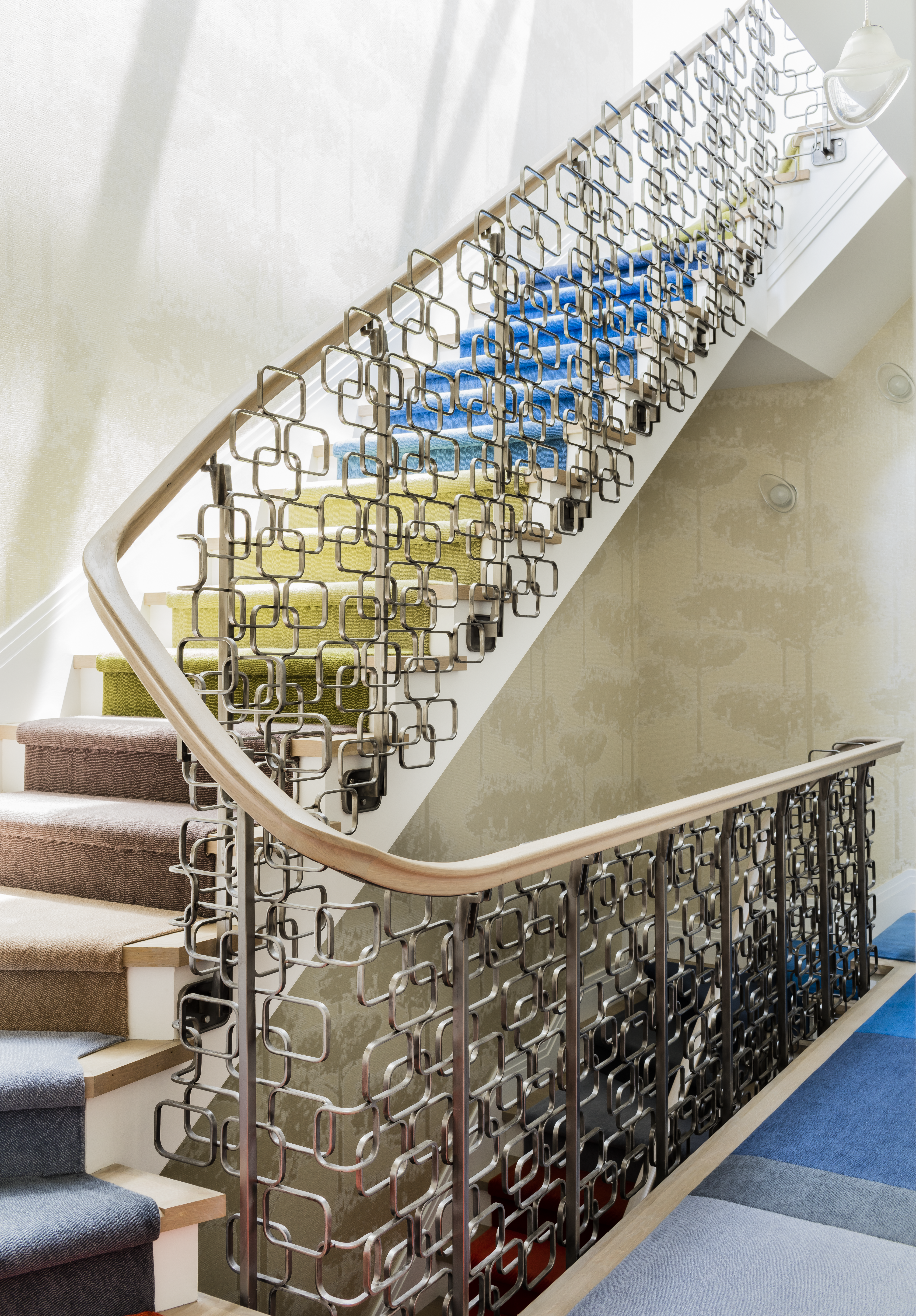 Back Bay Townhouse, Central Stair with Custom Metalwork