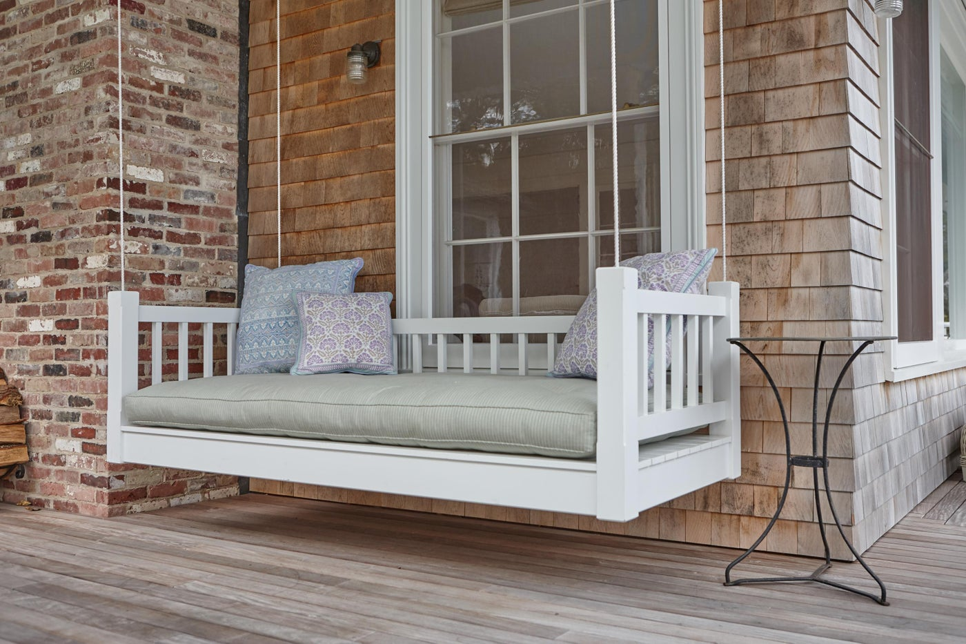 Daybed on exterior porch.
