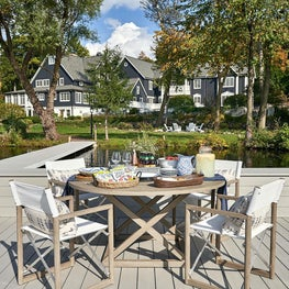 Dock, Outdoor Living, White Chairs, Neutral Palette, Raoul Textiles Pillow — Pine Lake Project