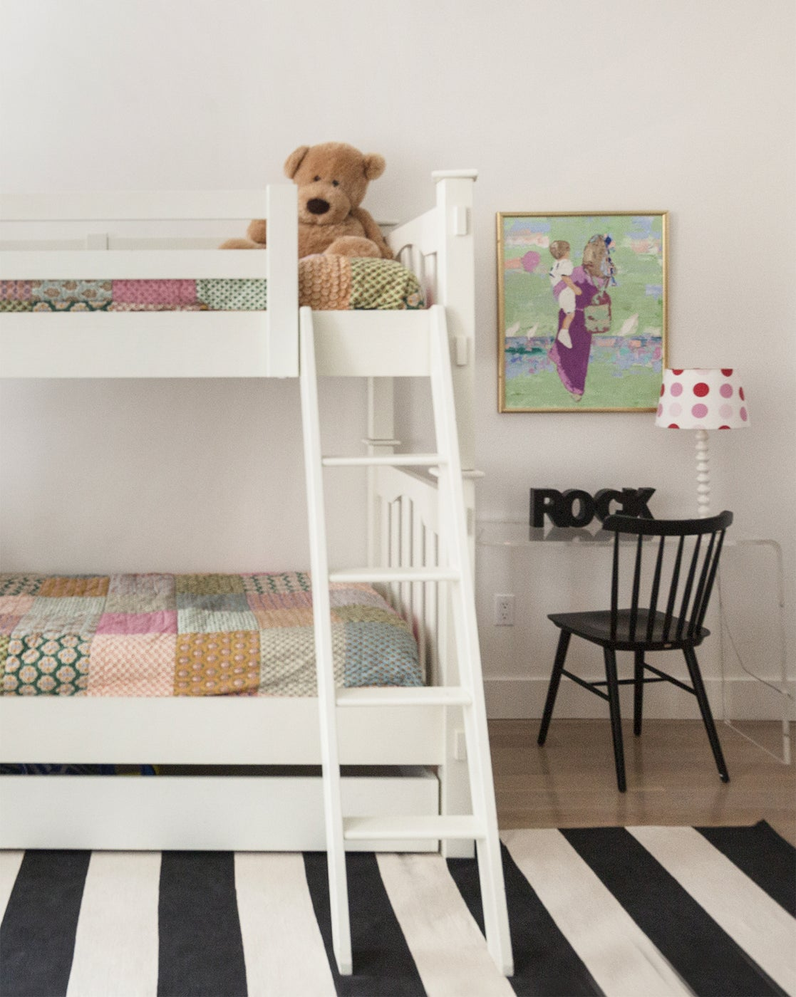 Twin bunk beds in children's bedroom.