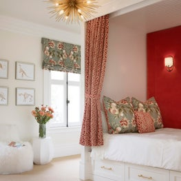 San Francisco girl's room with custom pink drapery and statement wall