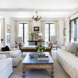 Wintery White Living Room with Antiques
