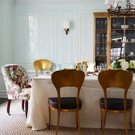 Upper West Side NYC Dining Room w/ Robin's Egg Blue Lacquer Walls & Stark Sisal