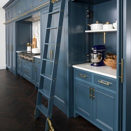 A kitchen featuring a library ladder that runs the entire work station wall.