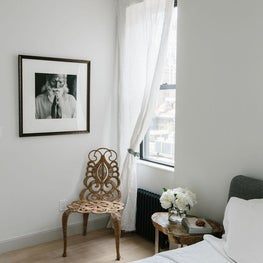 NYC Greenwich Village Pied a Terre with vintage wicker chair