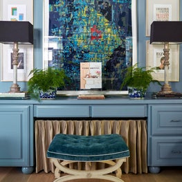 Home Office Featuring Blue Cabinetry