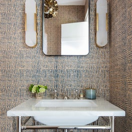 Hamptons Residence, Powder Room with graphic wallpaper and console sink.