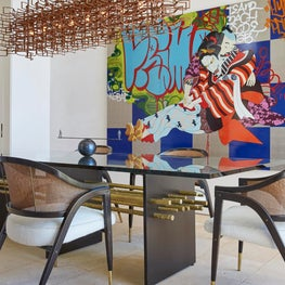 Hollywood Hills Dining Room with custom dining table