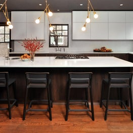 Oak Park Kitchen - MCM Inspired Chef's Kitchen w Counter Seating