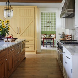 Chic farmhouse kitchen, custom yellow cabinetry and refrigerator