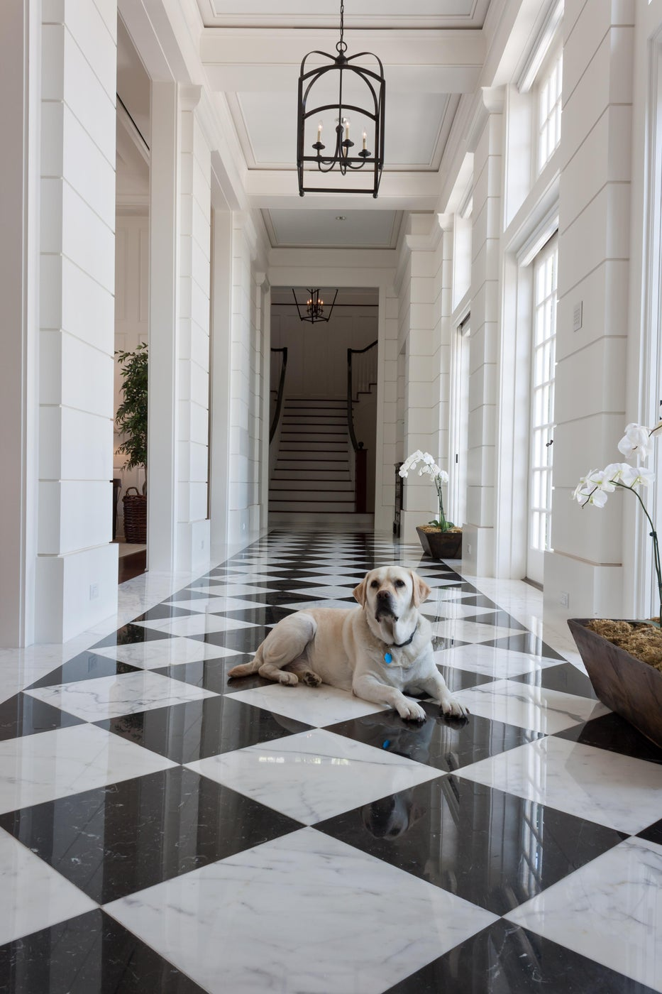 Formal Black and White Marble Entry