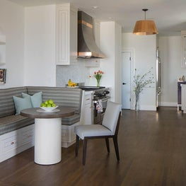 Expanded kitchen with custom banquette