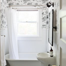 Black and White Bathroom with Brooklyn Wallpaper
