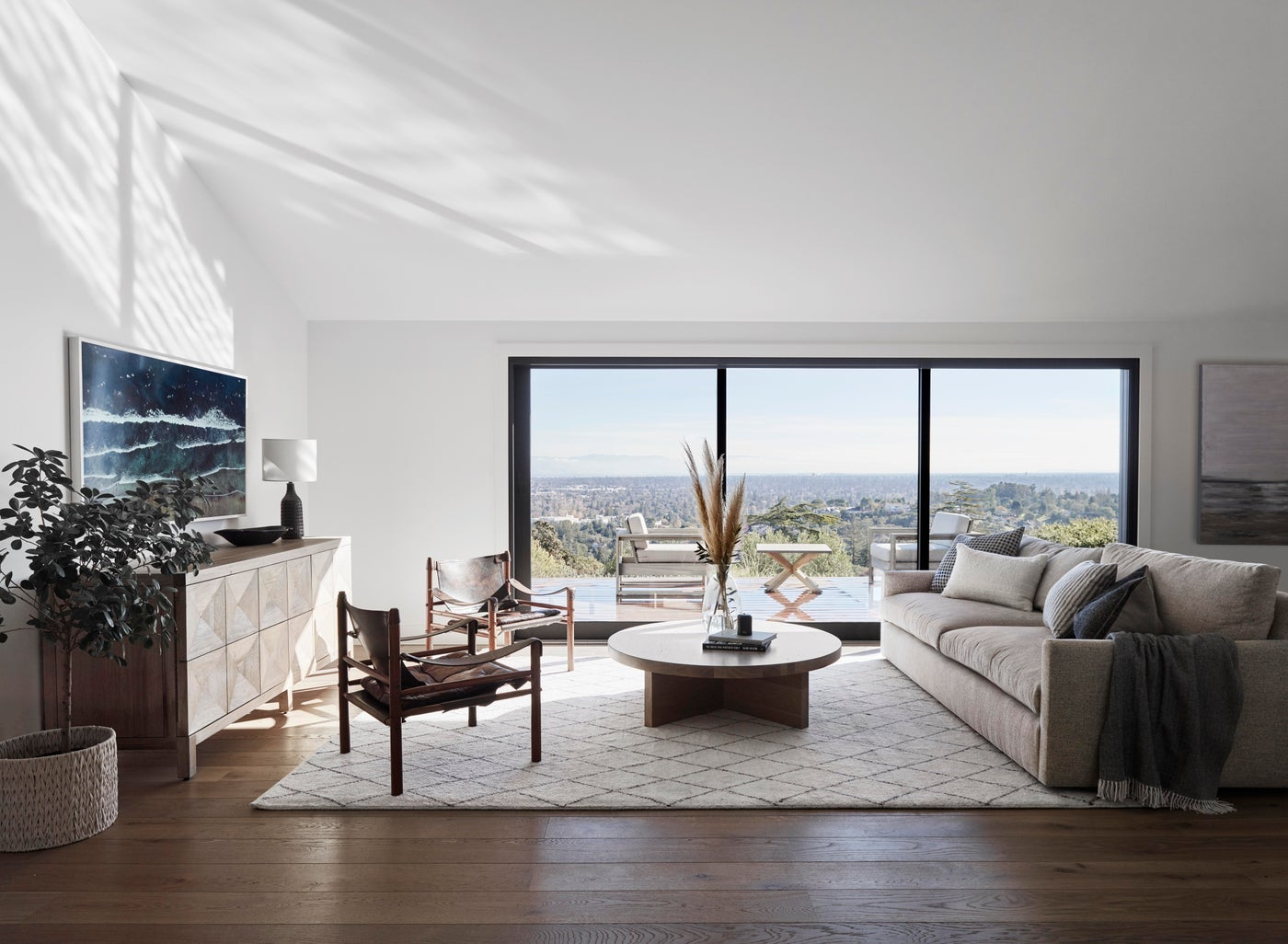 Redwood City living room, room with a view, transitional