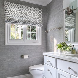 Bathroom with Grey Wallpaper and White Cabinets in Atherton Residence II