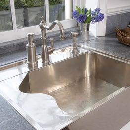 Historical accents and a German silver sink is perfect for this classic kitchen.