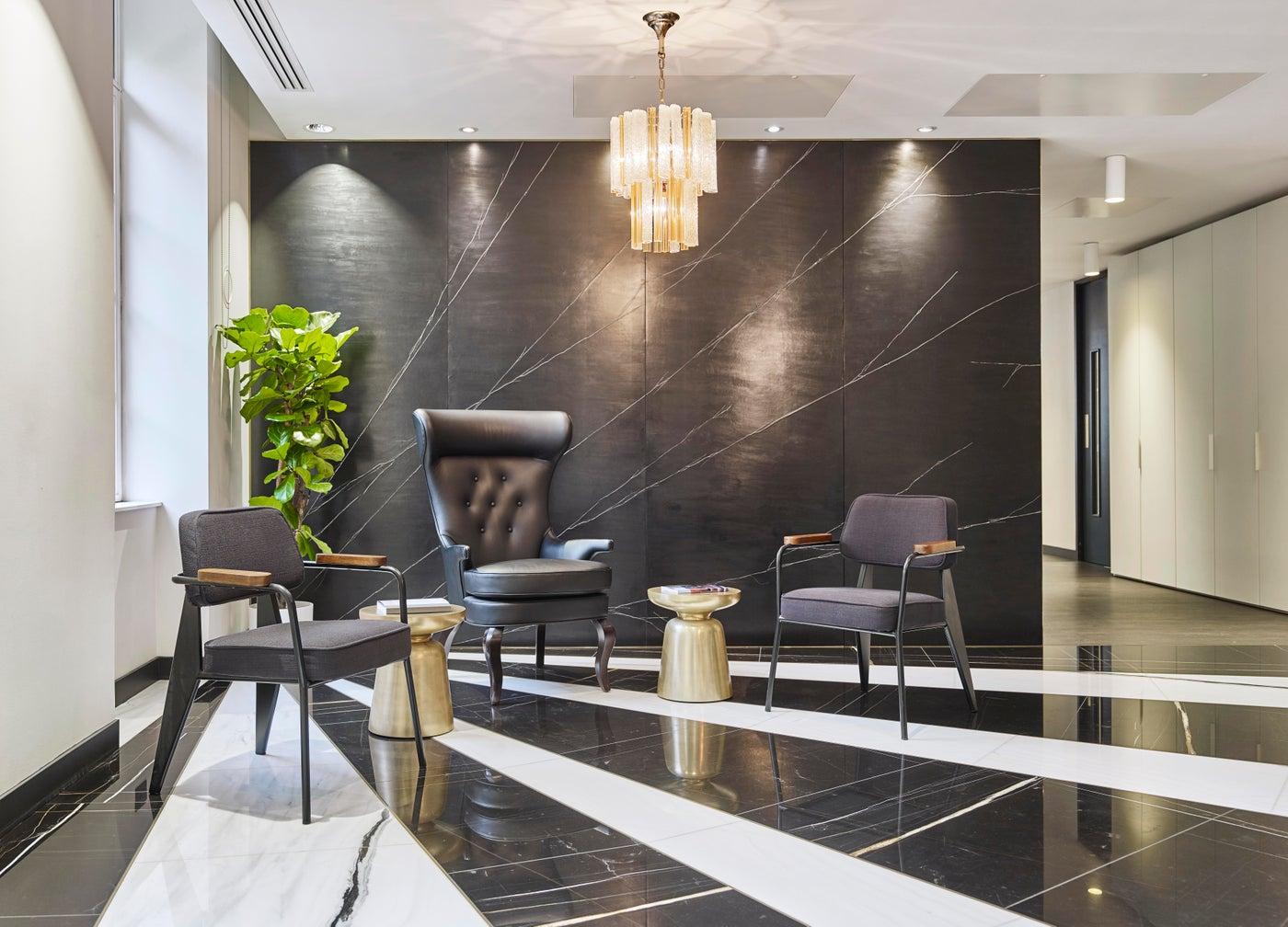 Stylish office in London lobby