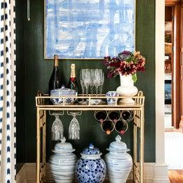 Amanda Reynal Interiors Bar Cart in Dining Room