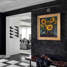 Ritz Carlton Residences, Boston; Vintage light fixture; Custom stone floor