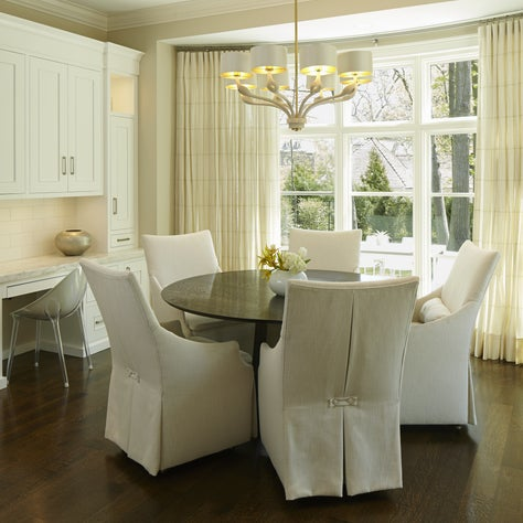 New Construction Breakfast Room, Bay Window, White Custom Cabinetry/Marble Top