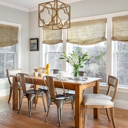 Breakfast room w farm table, Raoul Textiles shades, linen chairs and lot of sun