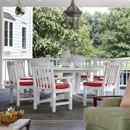 Hamptons style outdoor dining porch,tray ceiling,blue bead board ceiling.