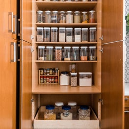 Organized breakfast pantry with reusable & refillable containers