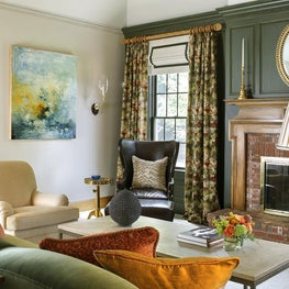 Casual Elegance, paneling,modern art,fireplace mantel, wing chair, Country house