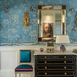 Custom de Gournay Entry with Satin-covered Louis XVI Chairs