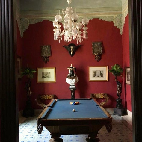 Billiards Room in a 19th century restored colnial in Mexico