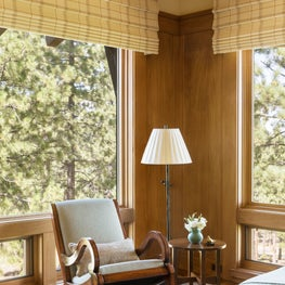 Martis Camp,Truckee,CA Master bedroom rocking chair corner with motorized roman shades