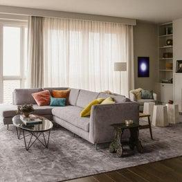 San Francisco Residence, Living Room with custom sofa and Coup D'Etat Mirror