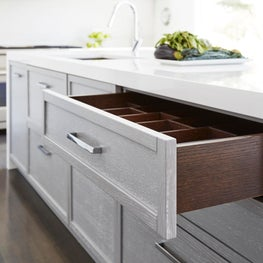 White Modern Kitchen Gut Rehab in Wilmette, IL, Kitchen Island Storage